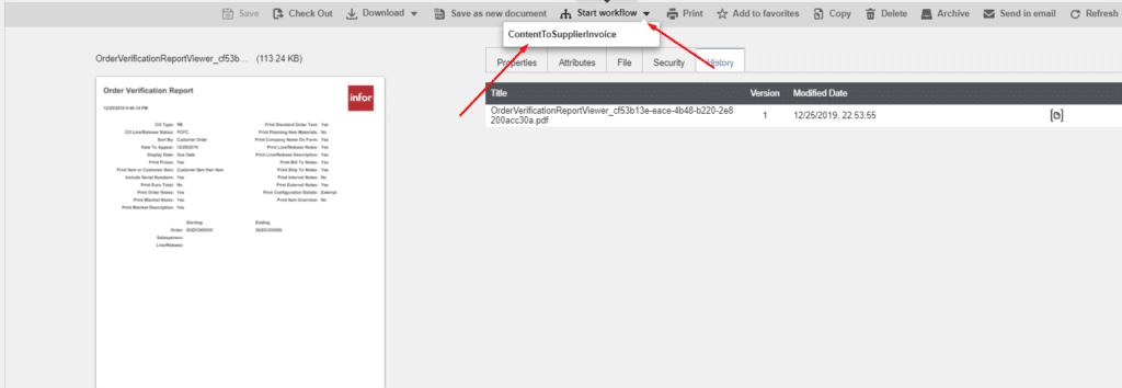 Document Management Workflow View - Infor CloudSuite Industrial (Syteline) ERP