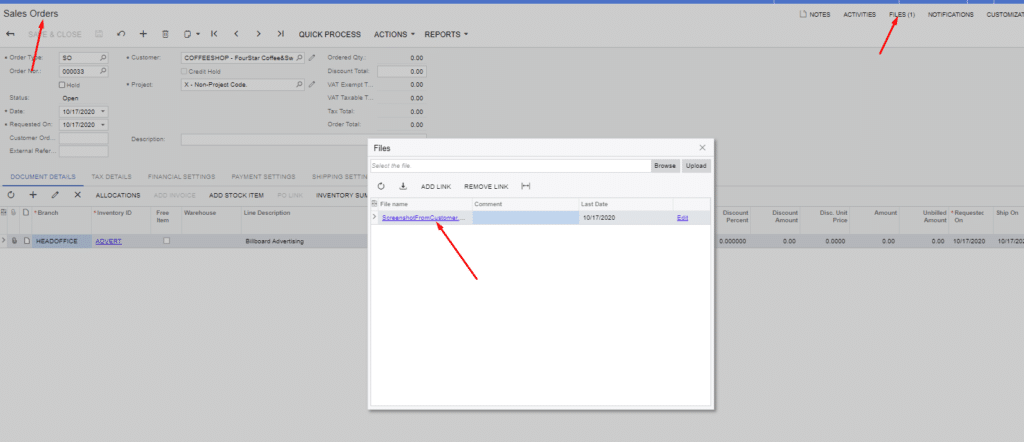 Step 2 - File Stored With One Click on Sales Order - Acumatica Cloud ERP